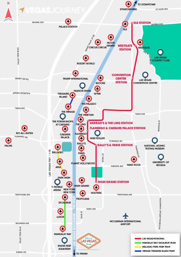 Monorail, Tram & Strip Map | Las Vegas Maps | Vegasjourney - Map Of Las Vegas Strip Hotels Printable