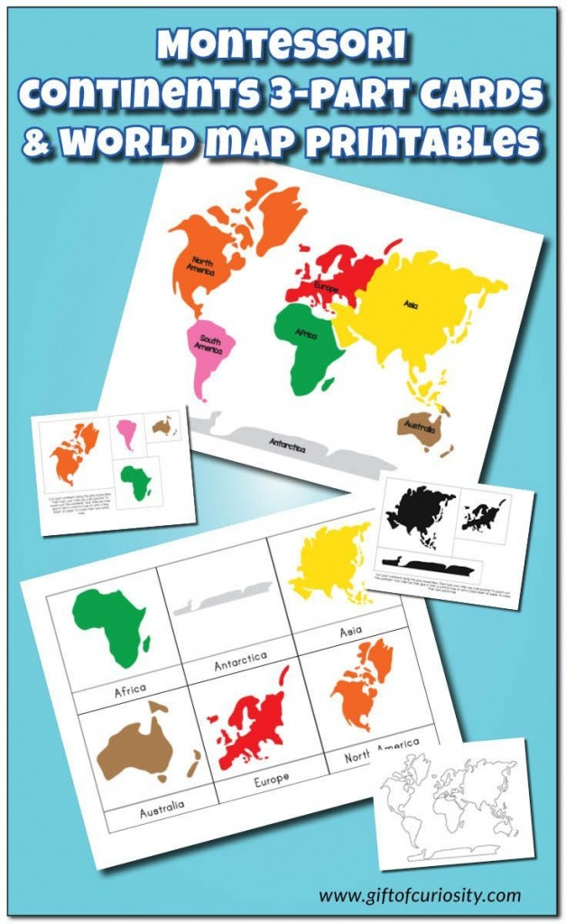 Montessori Continents 3-Part Cards And World Map Printables - Montessori World Map Printable