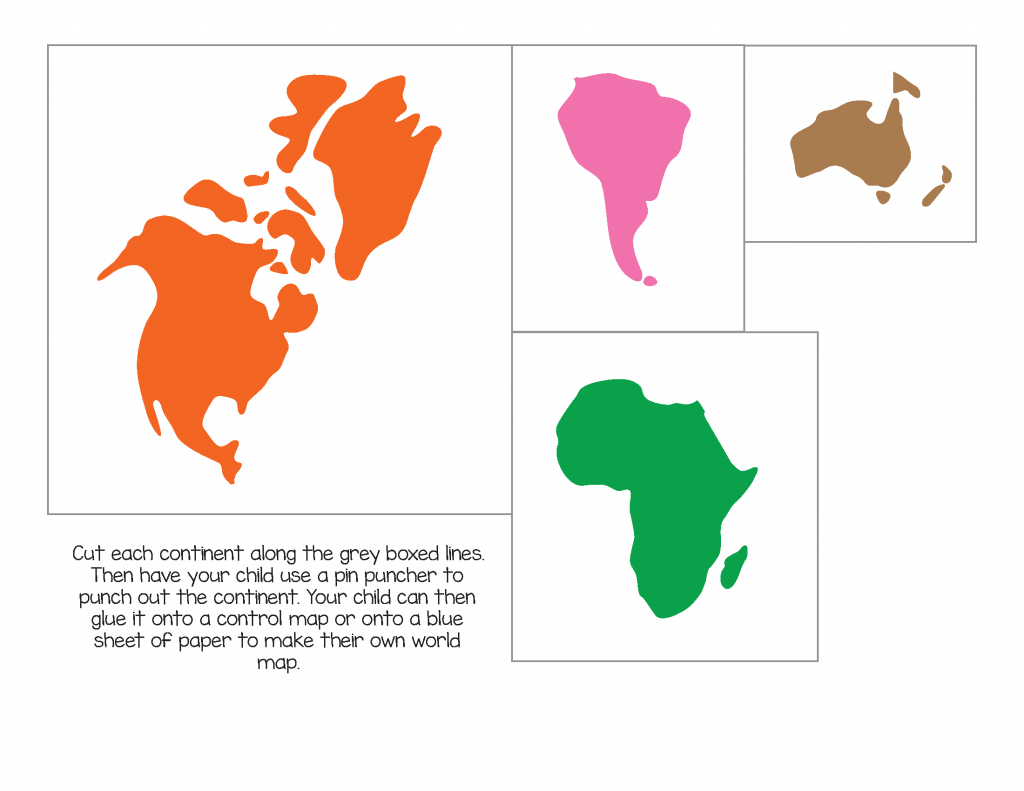 Montessori World Map And Continents - Gift Of Curiosity - Montessori World Map Printable