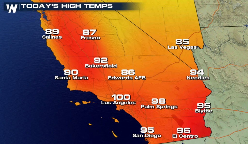 More Record Heat In Southern California - Hot Again For The World - Southern California Weather Map