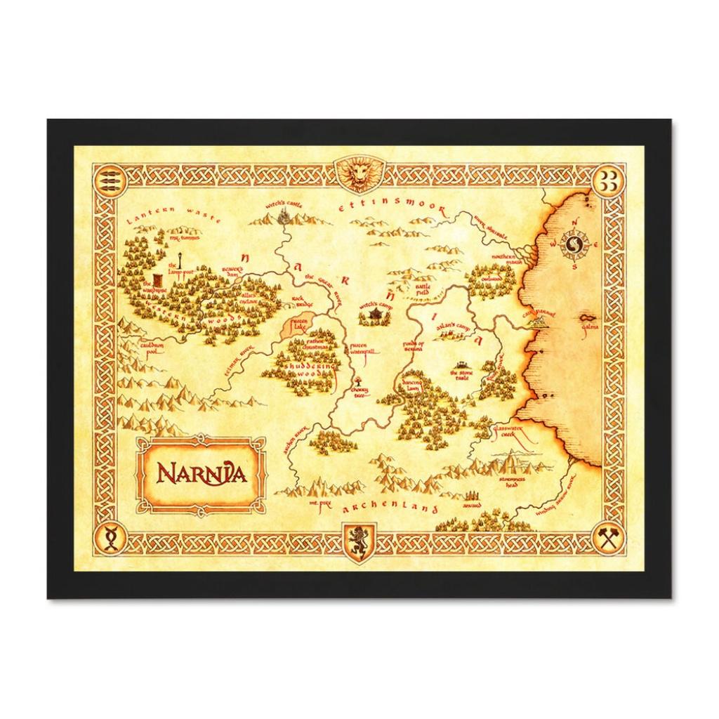 Movie Film Illustration Map Narnia Lewis Classic Sci Fi Large Framed Art  Print   Ebay - Printable Map Of Narnia