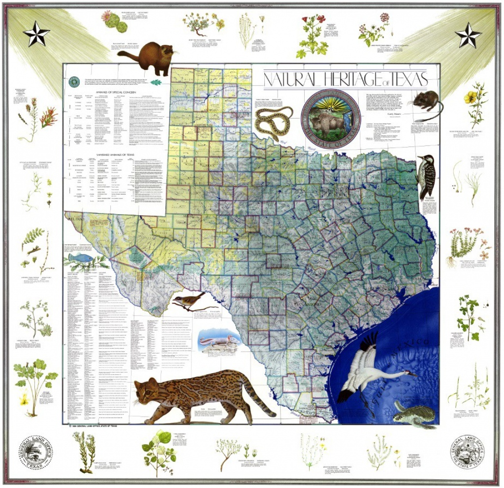 My Favorite Map: The Natural Heritage Map Of Texas, 1986 - Texas General Land Office Maps