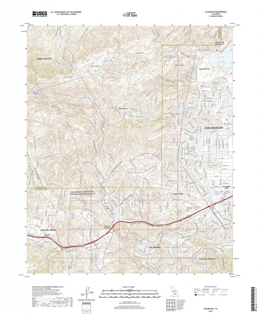 Mytopo Calabasas, California Usgs Quad Topo Map - Calabasas California Map