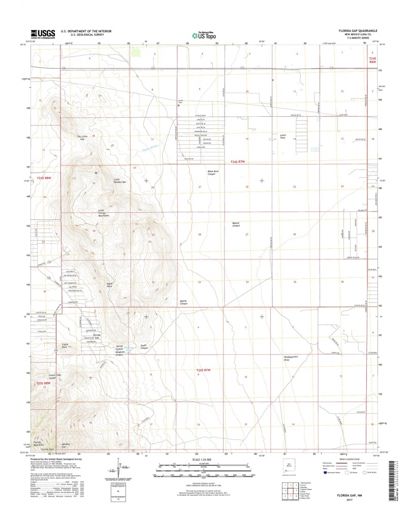 Mytopo Florida Gap, New Mexico Usgs Quad Topo Map - Usgs Topographic Maps Florida