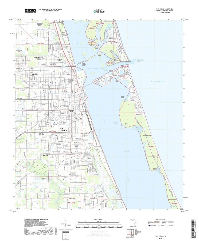 Mytopo Fort Pierce, Florida Usgs Quad Topo Map - Where Is Ft Pierce Florida On A Map
