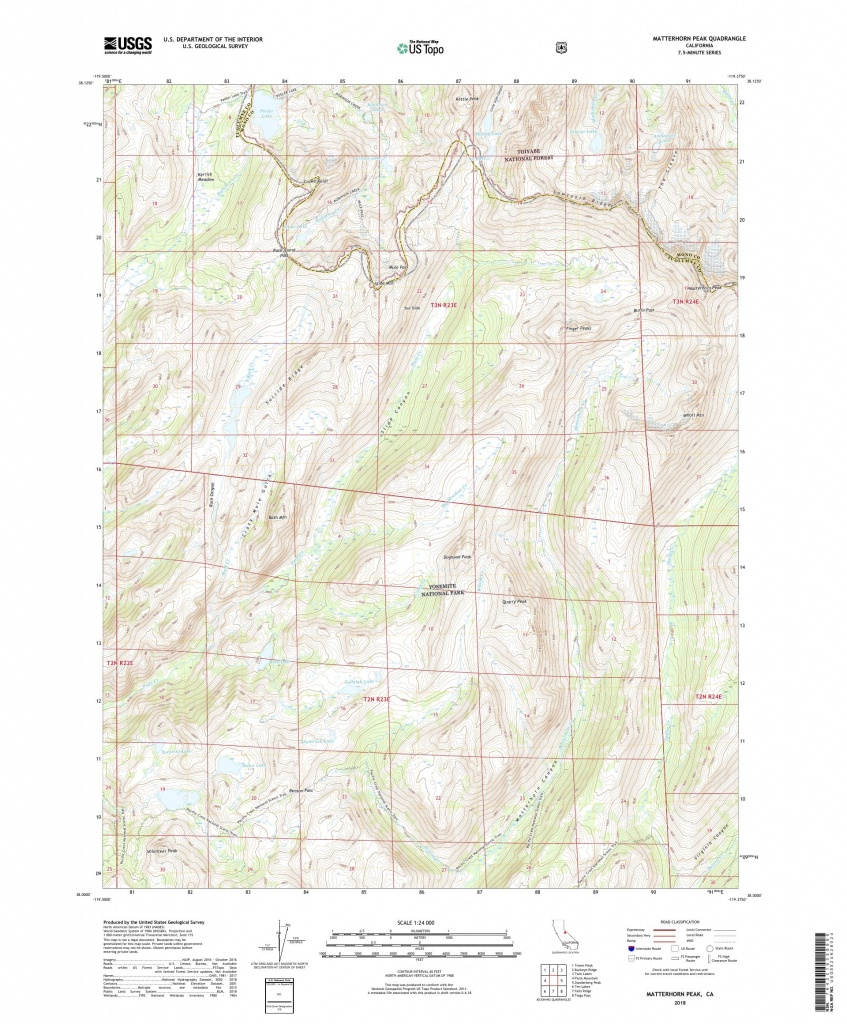 Mytopo Matterhorn Peak, California Usgs Quad Topo Map - Twin Peaks California Map