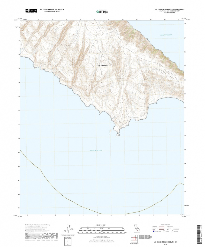 Mytopo San Clemente Island South, California Usgs Quad Topo Map - San Clemente California Map