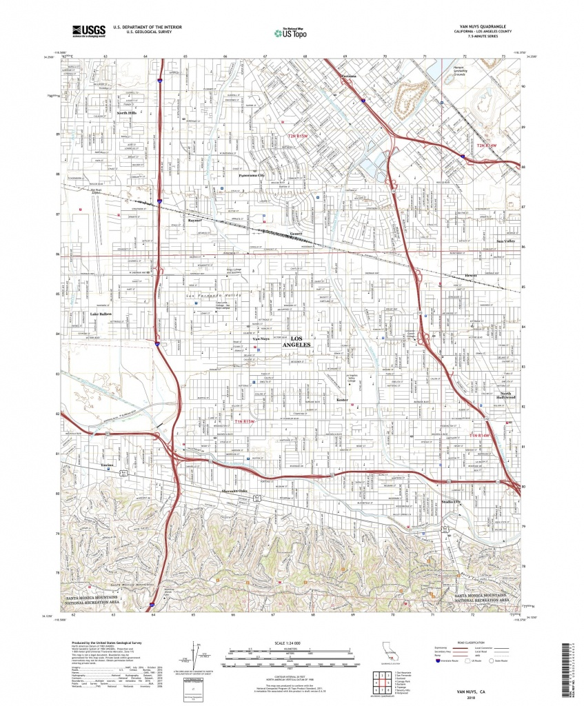 Mytopo Van Nuys, California Usgs Quad Topo Map - Van Nuys California Map