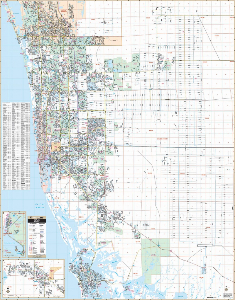 Naples & Collier Co, Fl Wall Map – Kappa Map Group - Street Map Of Naples Florida