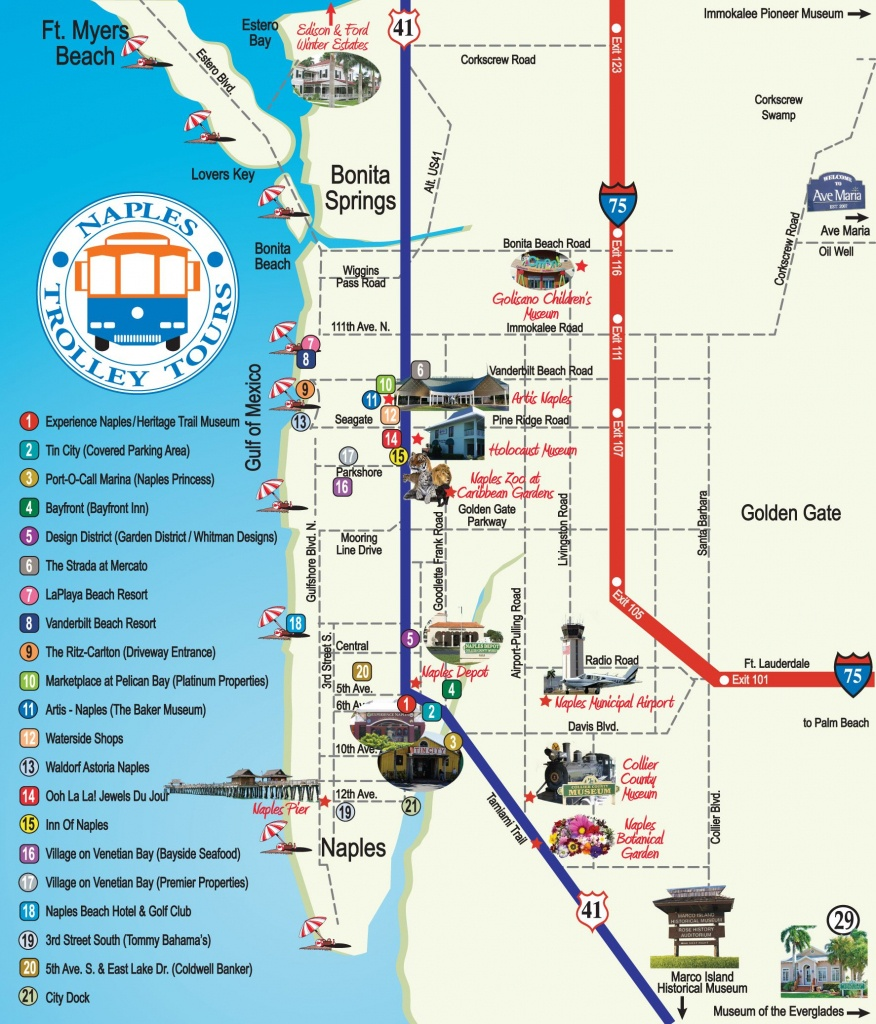 Naples Trolley Tours - Route Map | Florida | Map, Florida, Naples - Vanderbilt Beach Florida Map