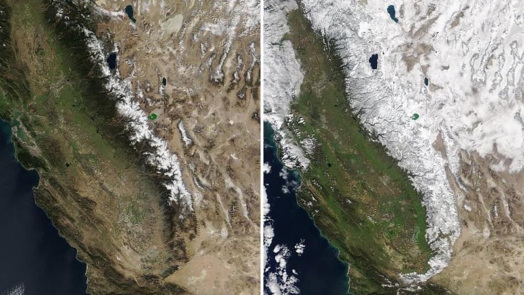 Nasa Releases Incredible Satellite Look At Sierra Nevada Snowpack - California Snowpack Map