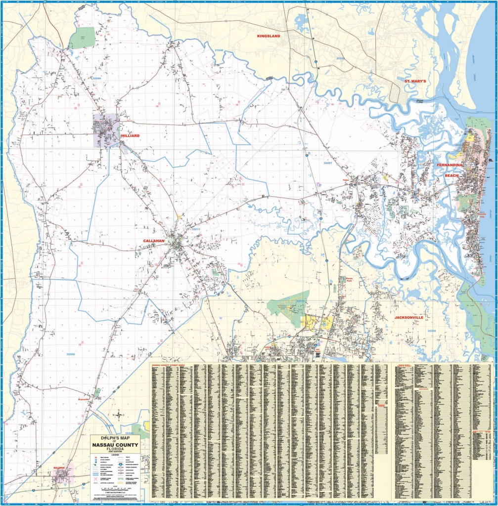 Nassau County, Fl Wall Map – Kappa Map Group - Yulee Florida Map
