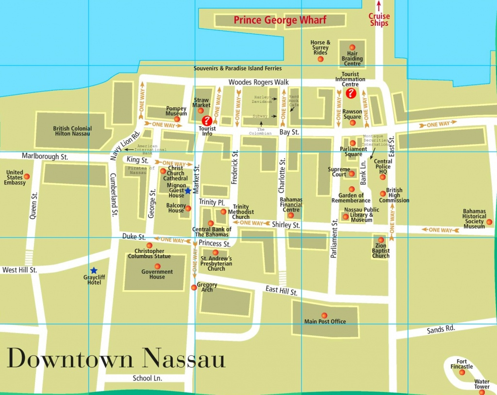 Nassau Downtown Map - Printable Map Of Nassau Bahamas