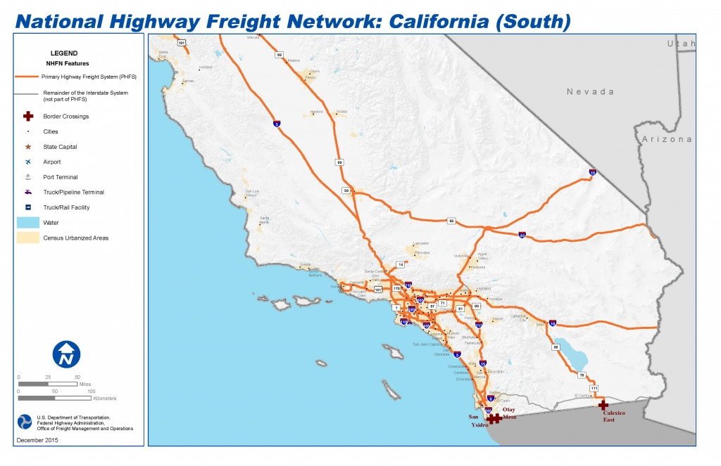 National Highway Freight Network Map And Tables For California - Vernon California Map