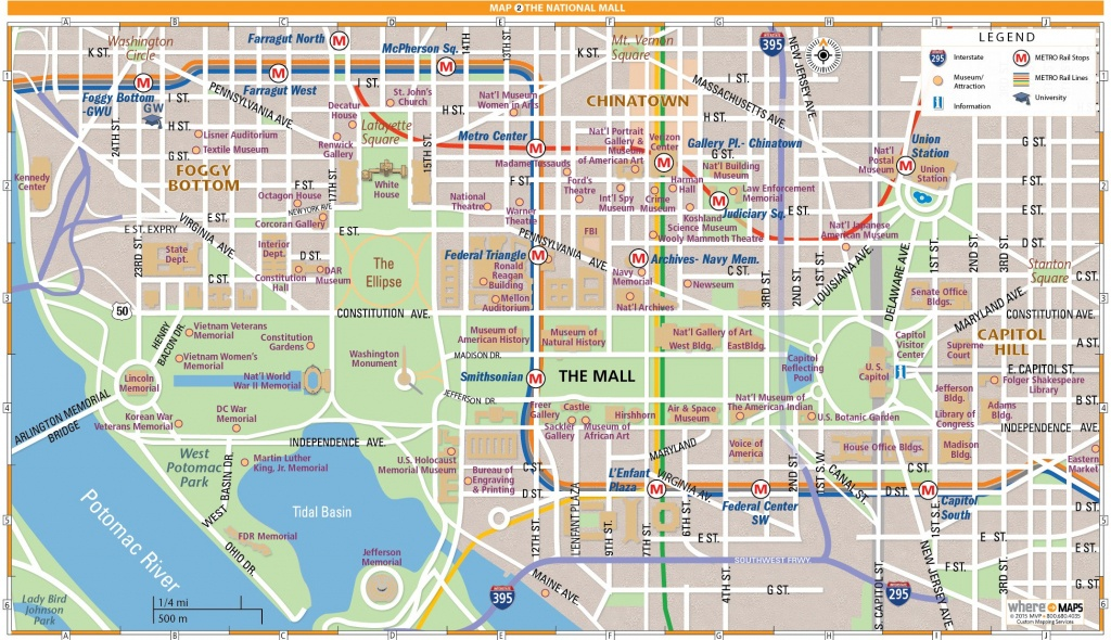 National Mall Map In Washington, D.c. | Wheretraveler - Printable Map Of Downtown Dc