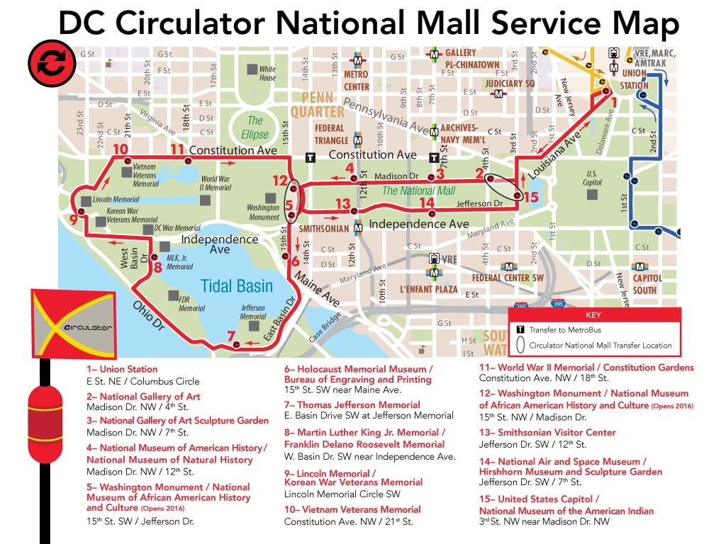 National Mall Route - National Mall Map Printable