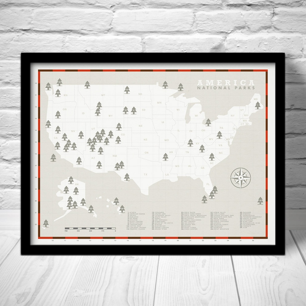 National Park Checklist Explorer Map Print National Park | Etsy - Printable Map Of National Parks
