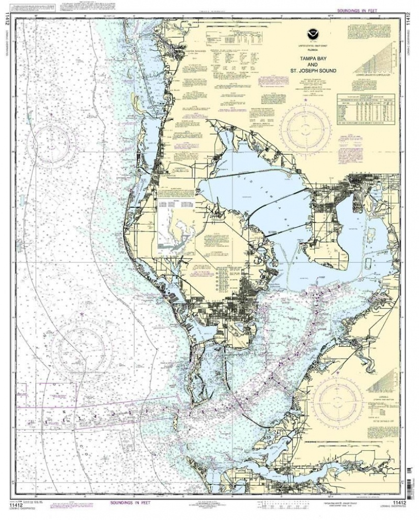 Nautical Map Of Tampa | Tampa Bay And St. Joseph Sound Nautical Map - Ocean Depth Map Florida