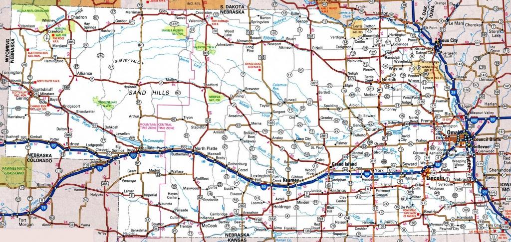 Nebraska Road Map - Printable Map Of Nebraska