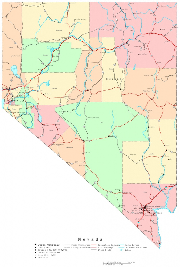 Nevada Printable Map - Printable Map Of Nevada