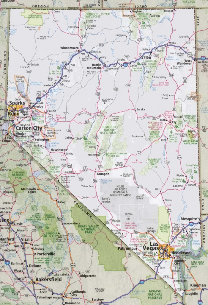 Nevada Road Map - Road Map Of California And Nevada