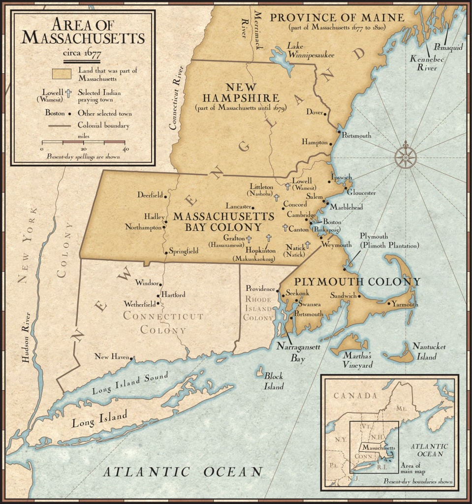 New England Colonies In 1677 | National Geographic Society - New England Colonies Map Printable