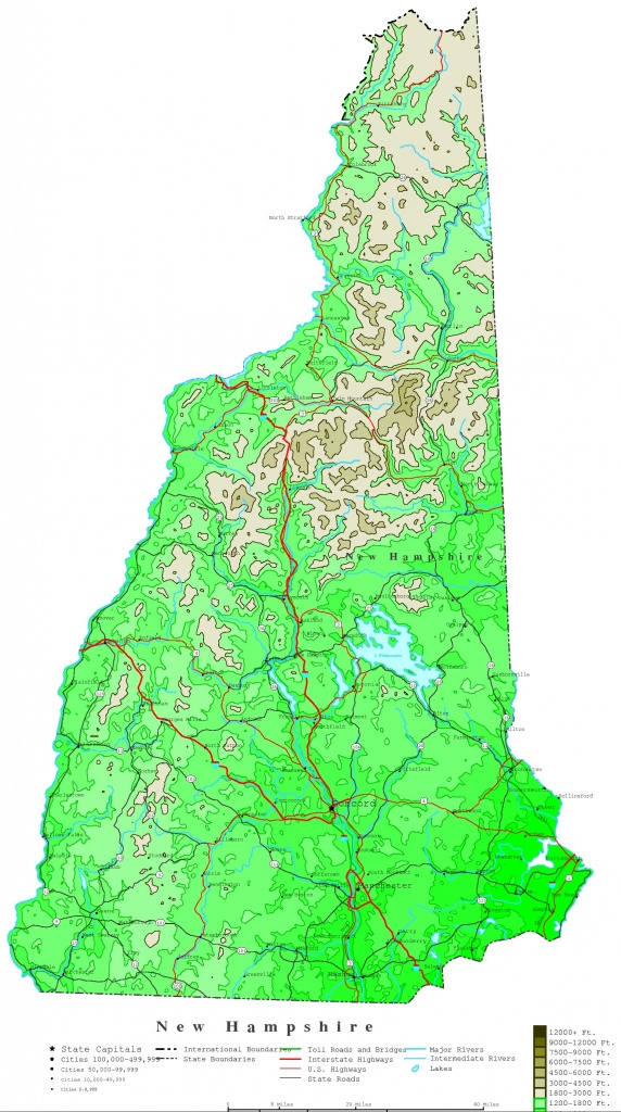 New Hampshire Contour Map - New Hampshire State Map Printable