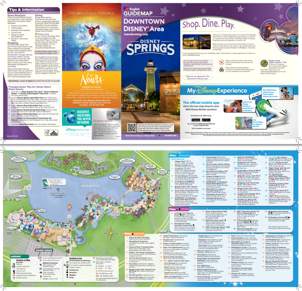 New Map For Downtown Disney/disney Springs (Pdf) | Disney Springs - Disney Springs Map Printable