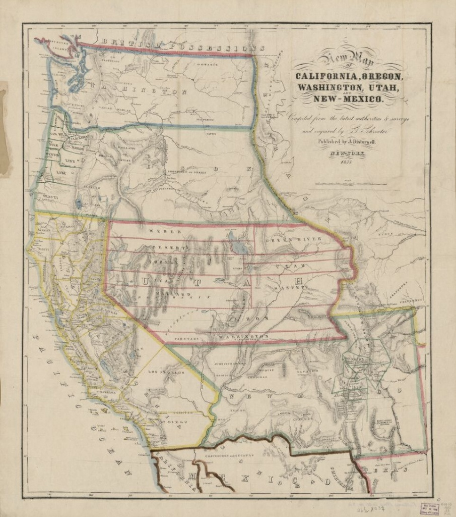 New Map Of California, Oregon, Washington, Utah And New Mexico - California Oregon Washington Map