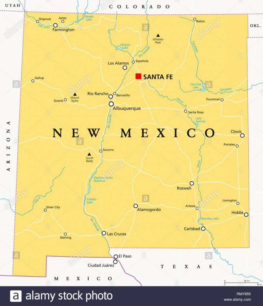 New Mexico, Political Map, With Capital Santa Fe, Borders, Important - Map Of Texas Showing Santa Fe