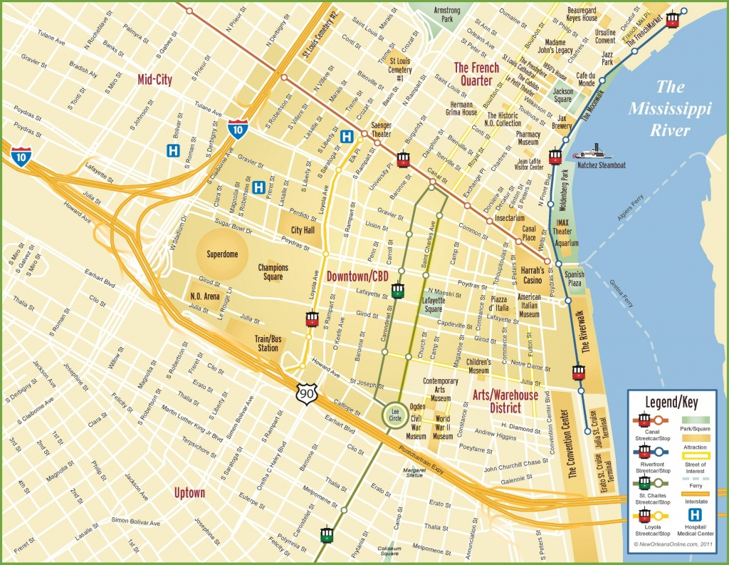 New Orleans Cbd And Downtown Map - New Orleans Street Map Printable