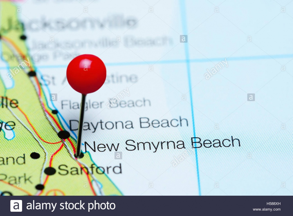 New Smyrna Beach Pinned On A Map Of Florida, Usa Stock Photo - Smyrna Beach Florida Map