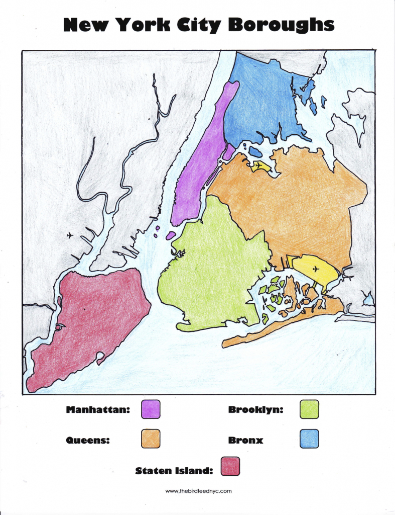 New York City Boroughs Coloring Activity For Kids - Map Of The 5 Boroughs Printable