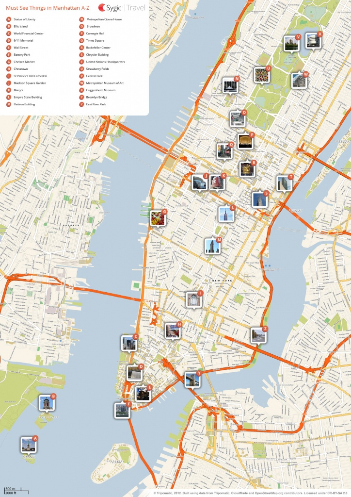 New York City Manhattan Printable Tourist Map | Sygic Travel - Map Of Nyc Attractions Printable