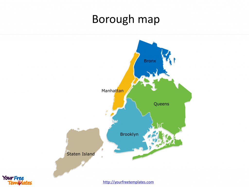 New York City Map Template - Free Powerpoint Templates - Map Of The 5 Boroughs Printable