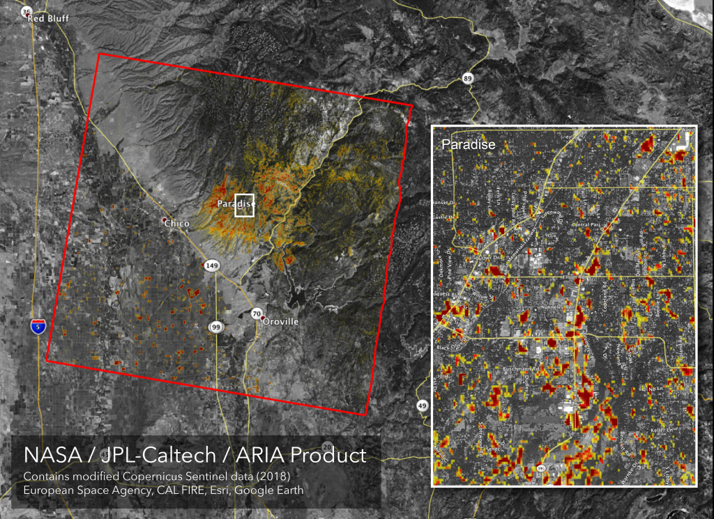 News | Updated Nasa Damage Map Of Camp Fire From Space - California Fire Heat Map