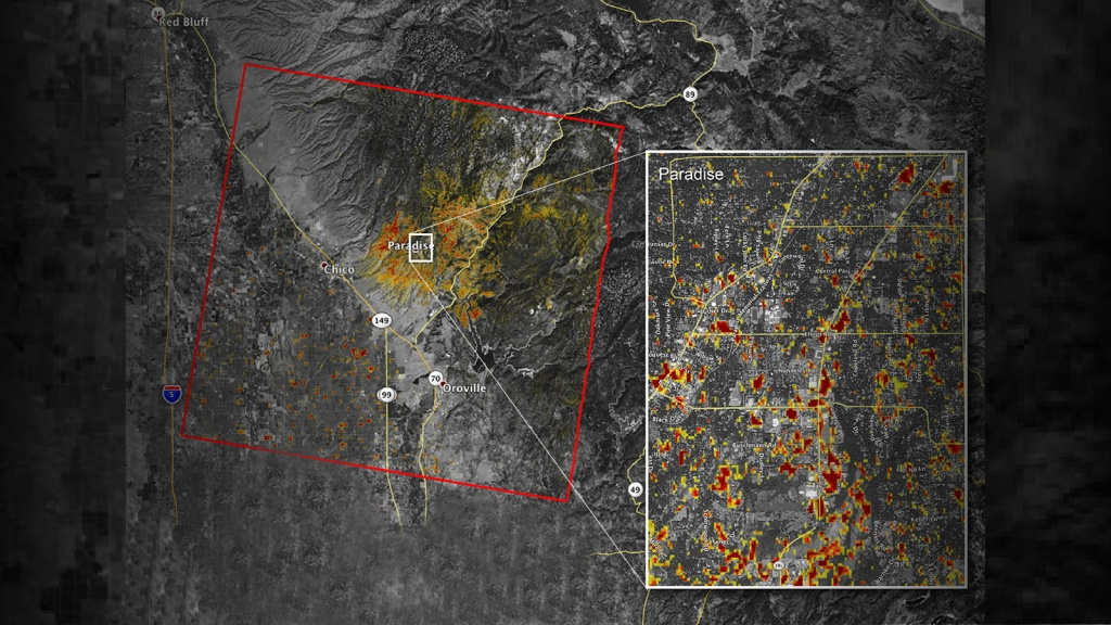 News   Updated Nasa Damage Map Of Camp Fire From Space - Live Satellite Map California