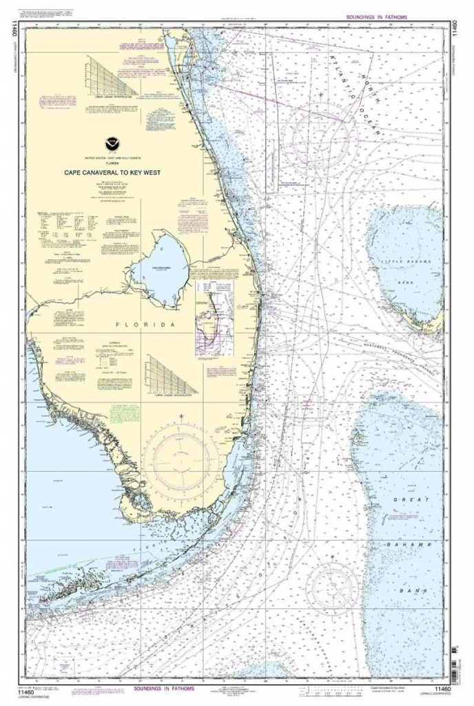 Noaa Nautical Chart 11460: Cape Canaveral To Key West | Chart | Home - Nautical Maps Florida