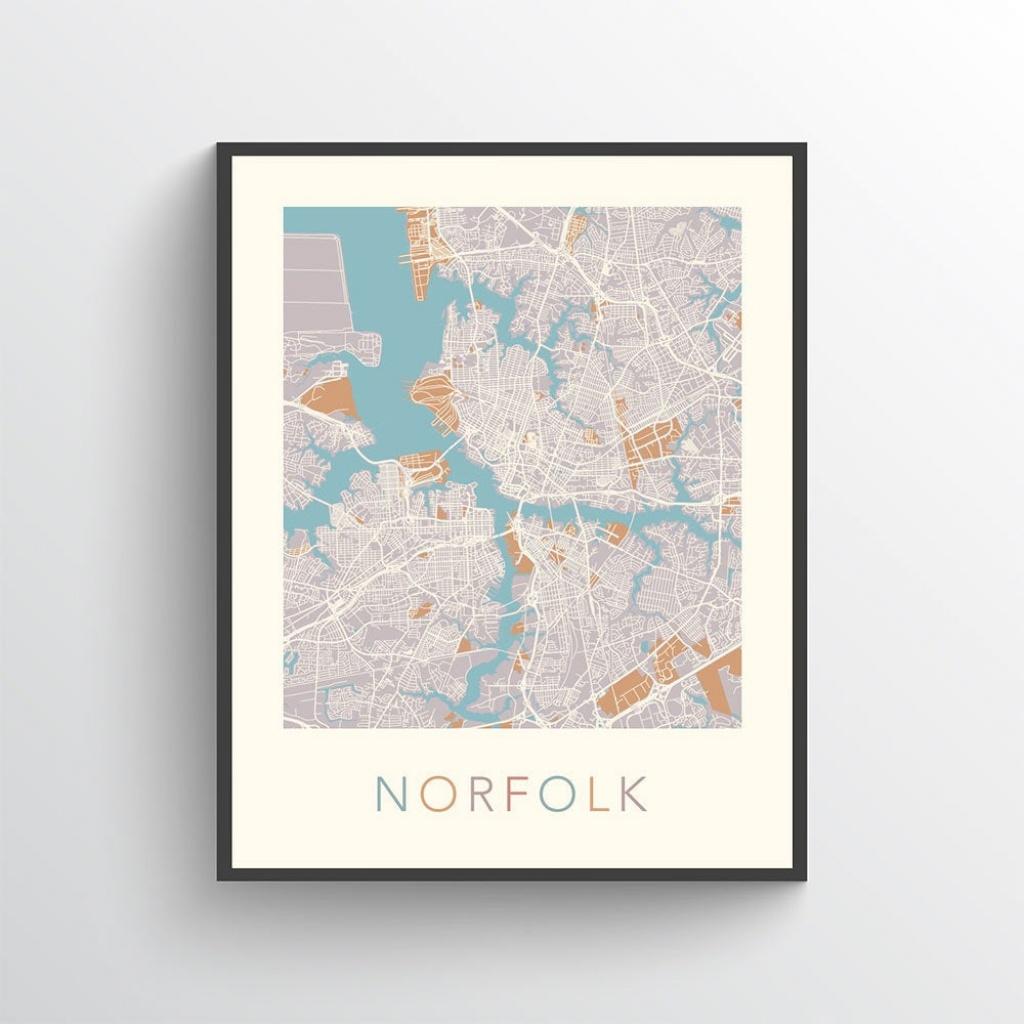 Norfolk Map Print Norfolk Virginia Norfolk Map Norfolk Art | Etsy - Printable Map Of Norfolk Va