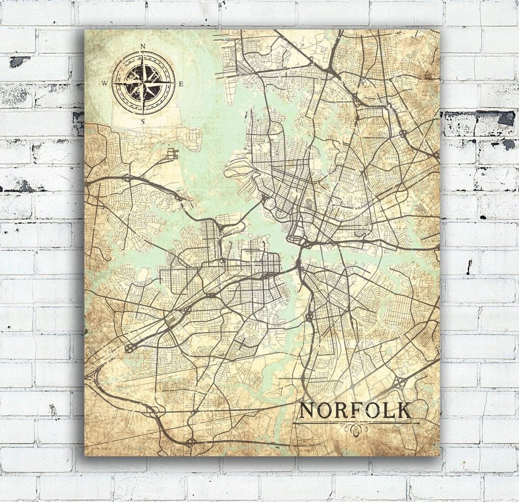 Norfolk Va Canvas Print Va Norfolk Va Town Plan Virginia Vintage Map - Printable Map Of Norfolk Va
