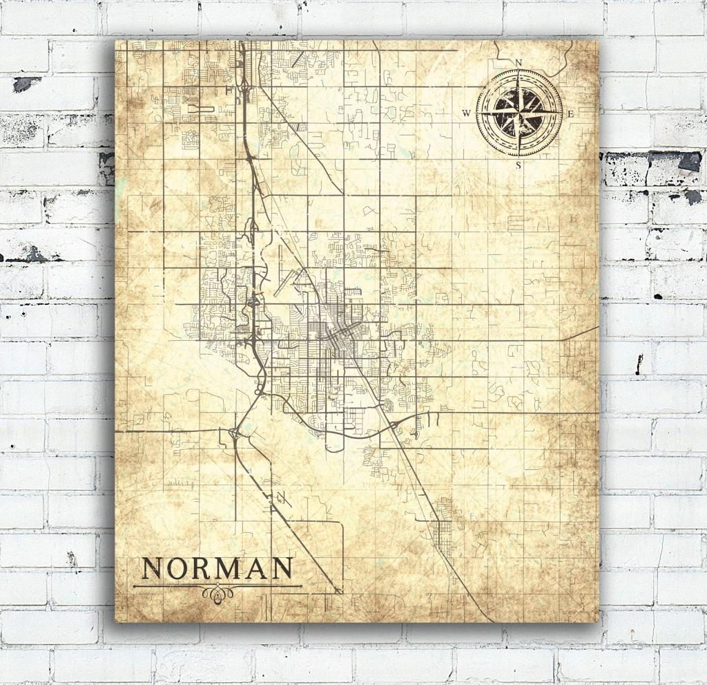 Norman Ok Canvas Print Oklahoma Vintage Map Norman City Vintage - Printable Map Of Norman Ok