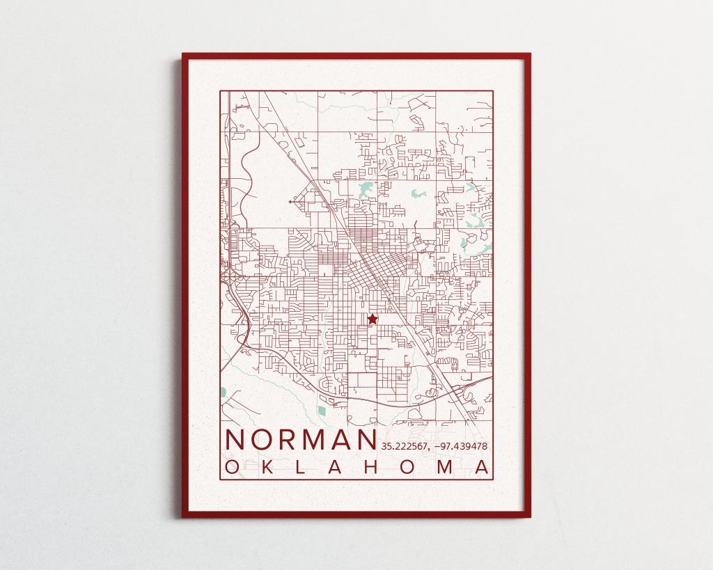 Norman Oklahoma Map University Of Oklahoma Poster Print City Sooners - Printable Map Of Norman Ok