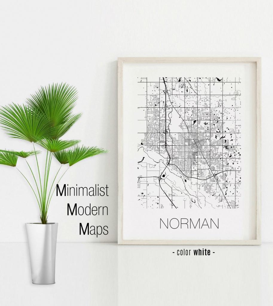 Norman Oklahoma Norman Ok Map Norman Map Norman Print | Etsy - Printable Map Of Norman Ok