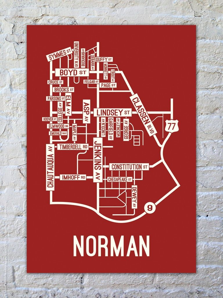 Norman, Oklahoma Street Map Print | For Tyler | Map Canvas, Oklahoma - Printable Map Of Norman Ok