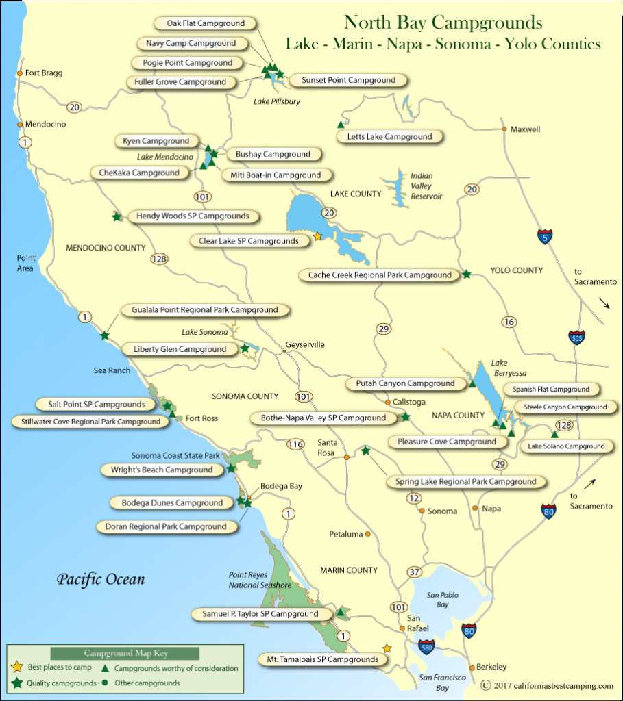 North Bay Counties Campground Map - California Camping Map