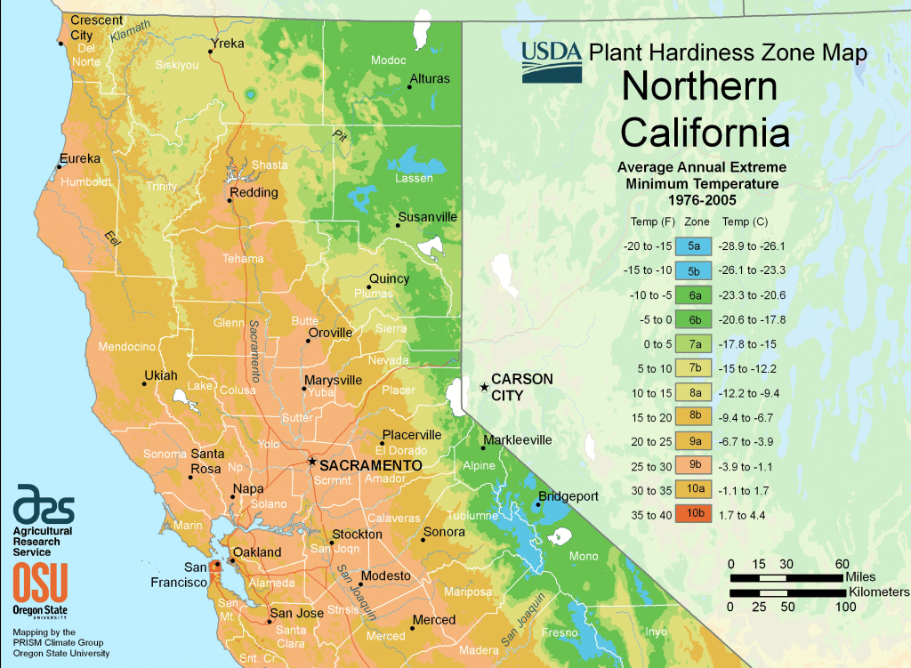 North California Plant Hardiness Zone Map • Mapsof - Growing Zone Map California