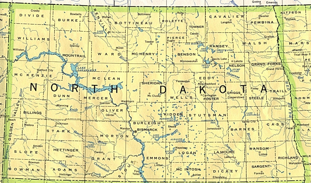 North Dakota Maps - Perry-Castañeda Map Collection - Ut Library Online - Printable Map Of North Dakota