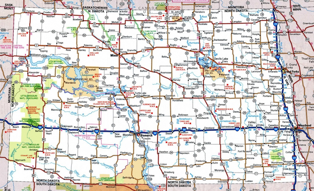 North Dakota Road Map - Printable Map Of North Dakota