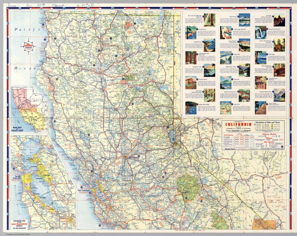 North Half) Road Map Of California - David Rumsey Historical Map - Road Map Of Northern California