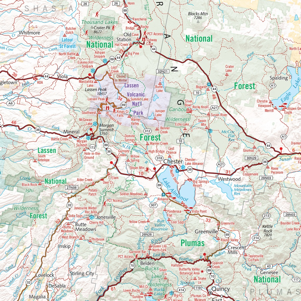 Northern California Recreation Wall Map — Benchmark Maps - Northern California Wall Map